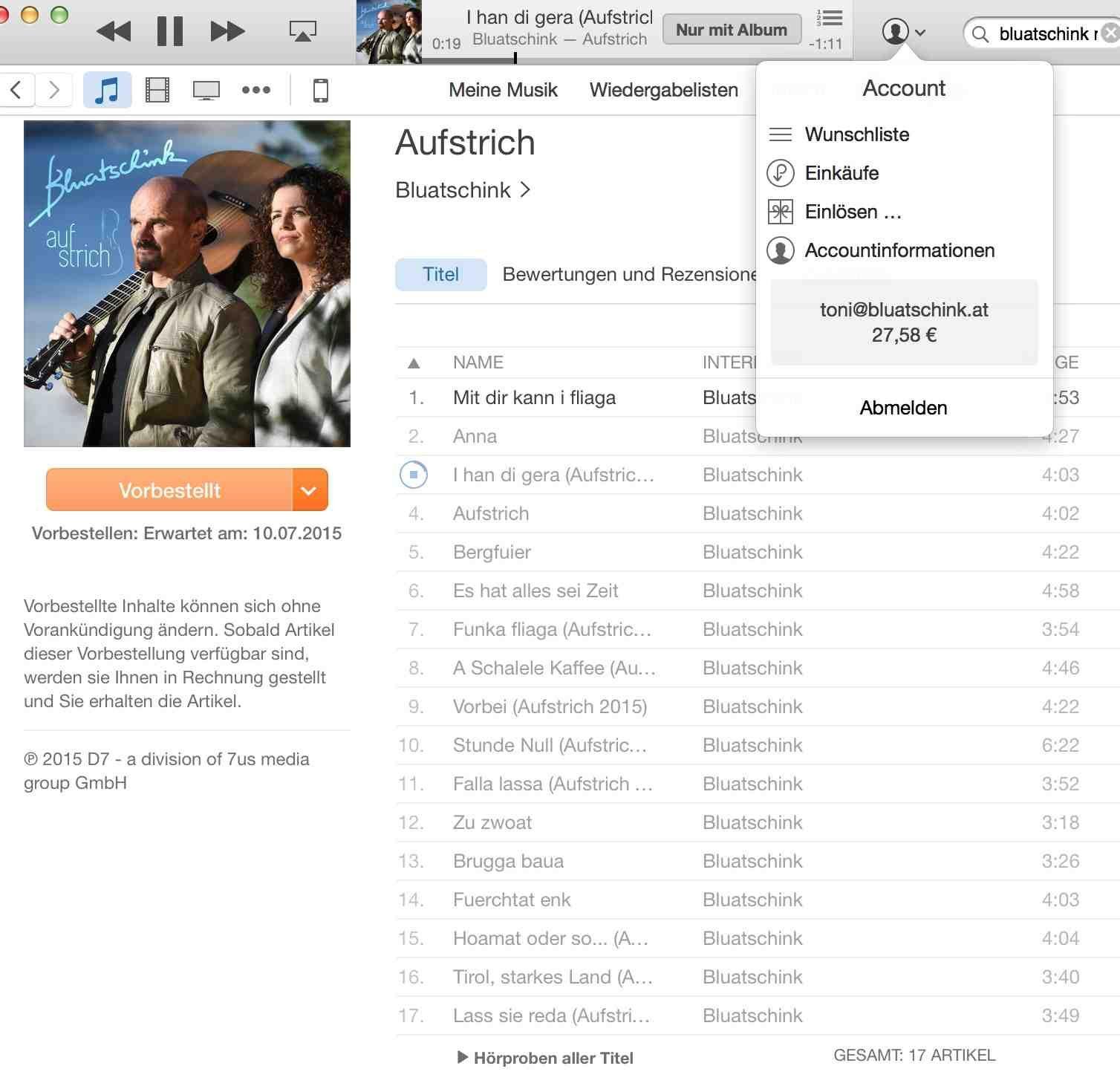 Aufstrich bei iTunes vorbestellen